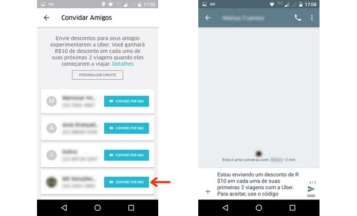Envio de convite do Uber para amigos que ainda não usam o app (Foto: Reprodução/Raquel Freire)