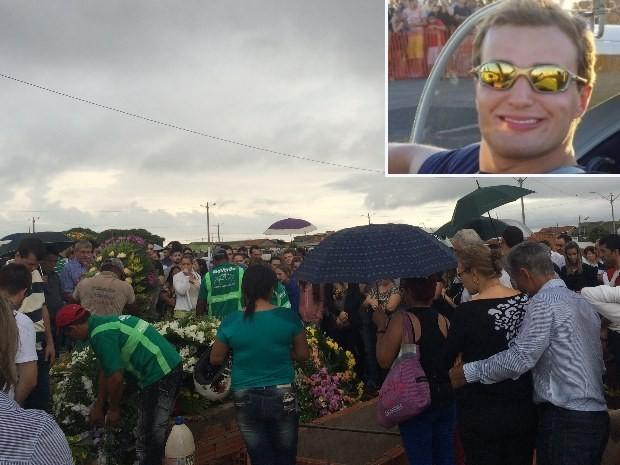 Corpo do piloto André Textor é enterrado em Rio Verde, Goipas (Foto: Karla Izumi/ TV Anhanguera)