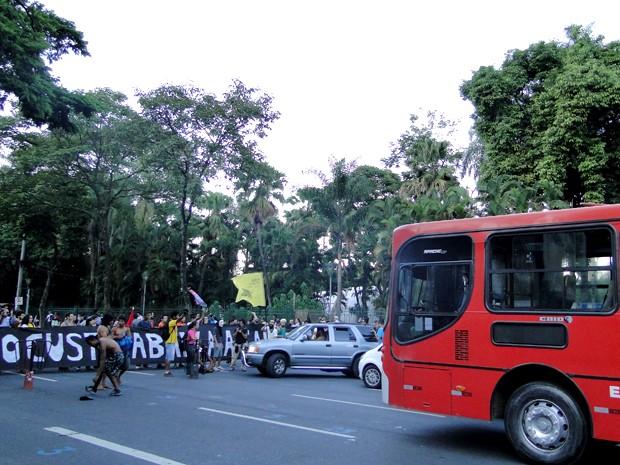 Manifestantes pediram mudanças no sistema de transporte público de Belo Horizonte e se mostrou contrário a realização da Copa do Mundo (Foto: Humberto Trajano / G1)