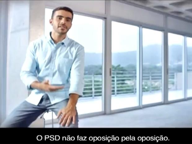 Trecho do programa do PSD, exibido em rede nacional de TV nesta quinta (14) (Foto: Reprodução/PSD)