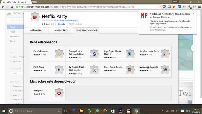 Usuário deve procurar filme no Netflix após instalar extensão no Chrome (Foto: Reprodução/Elson de Souza)