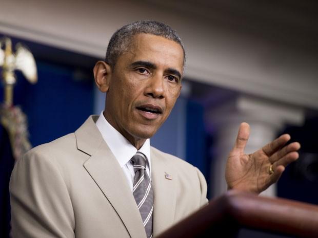 O presidente dos EUA, Barack Obama, durante pronunciamento na Casa Branca na tarde de quinta-feira (28) (Foto: AFP Photo/Saul Loeb)