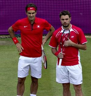 Roger Federer tênis Londres 2012 Olimpíadas Stanislas Wawrinka (Foto: AFP)