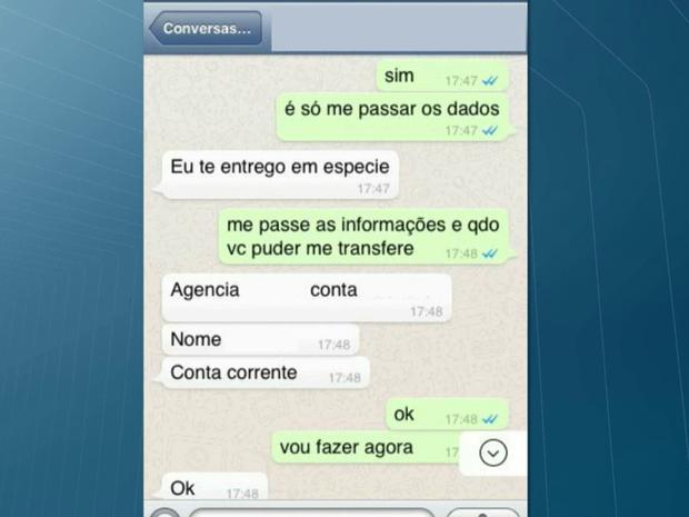 Golpe é feito por meio do Whatsapp (Foto: Reprodução/TV Cabo Branco)