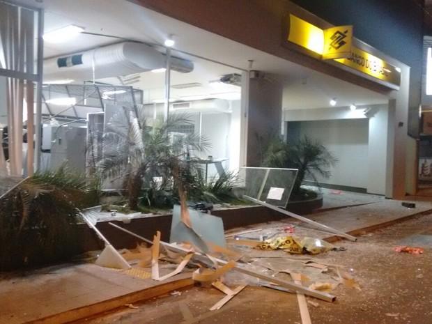 Explosão de caixas  (Foto: Polícia Militar/Divulgação)