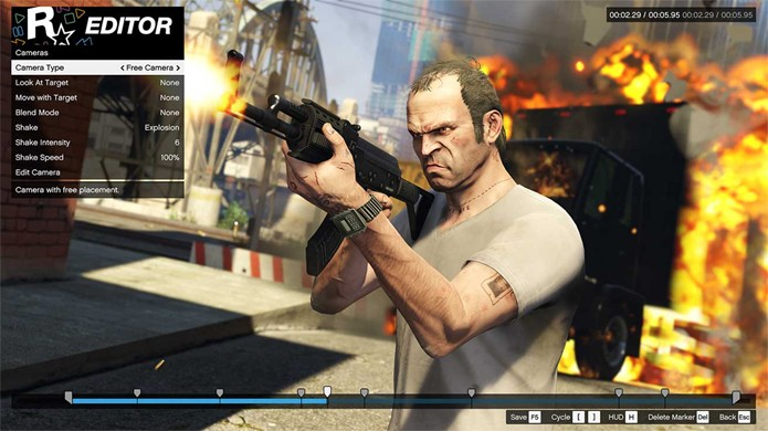 Editor de vídeo de GTA 5 para PC oferece muitas opções para criar seu próprio filme (Foto: Reprodução/GameSpot)