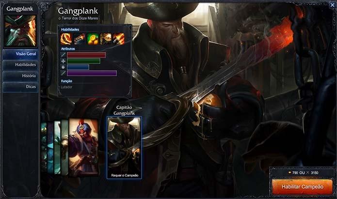 O popular Gangplank também recebeu uma versão capitão (Foto: Reprodução/Murilo Molina)
