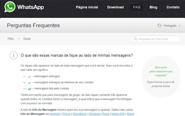Página de perguntas frequentes no site do WhatsApp mostra função que indica que mensagem foi lida (Foto: Reprodução/WhatsApp.com)