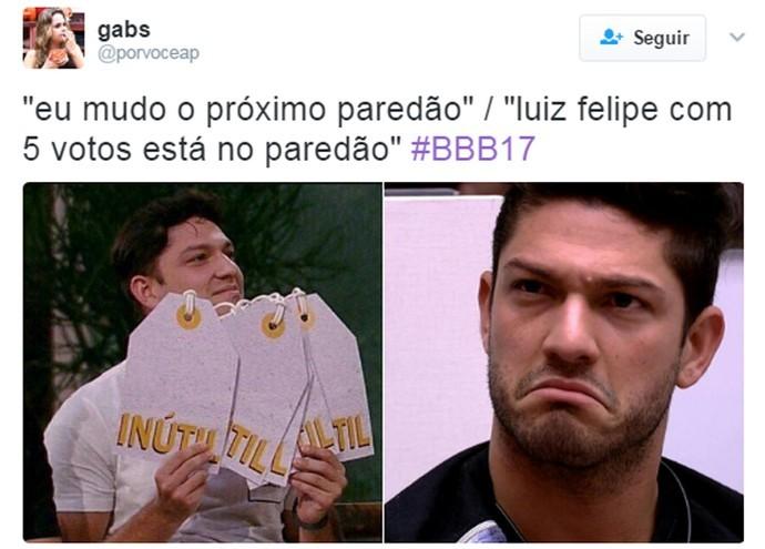 Luiz Felipe e o poder do inútil (Foto: Reprodução Internet/ Reprodução Twitter @porvoceap)