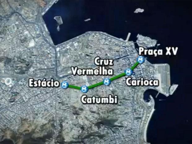 Mapa da expansão da Linha 2 do Metrô Rio (Foto: Reprodução / Globo)