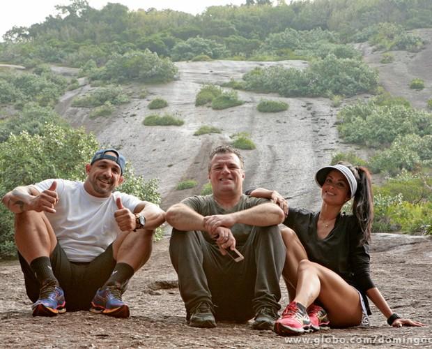 No fim das contas, os três relaxaram um pouco na Urca, no Rio de Janeiro (Foto: Domingão do Faustão / TV Globo)