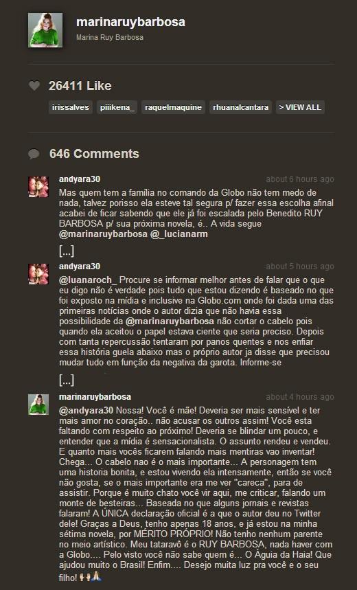 Discussão entre fã e Marina Ruy Barbosa (Foto: Instagram / Reprodução)
