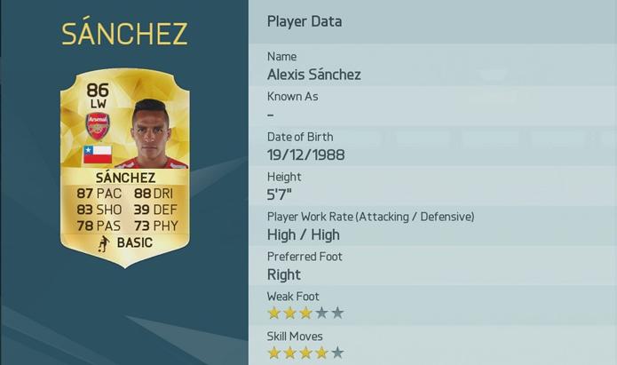 O chileno Alexis Sanches, do Arsenal, tem bônus +1 (Foto: Divulgação/EA Sports)