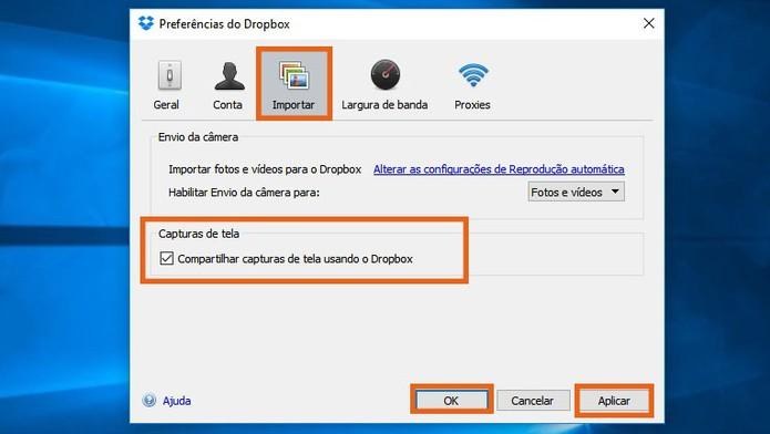 Selecione o item para salvar as capturas de tela diretamente no Dropbox (Foto: Reprodução/Barbara Mannara)