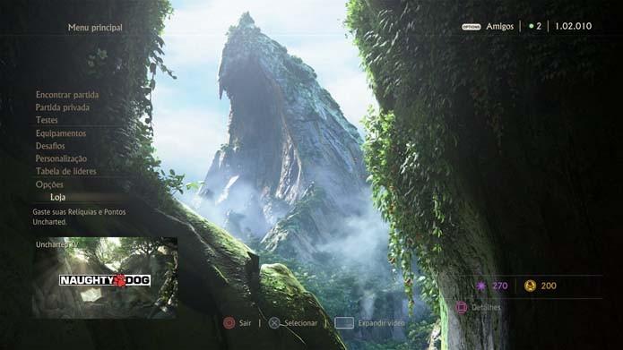Selecione a loja no menu de Uncharted 4 (Foto: Reprodução/Murilo Molina)