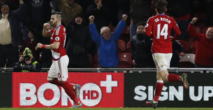 Alvaro Negredo comemora gol do Middlesbrough sobre o Sheffield Wednesday (Foto: Reuters)