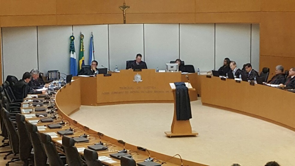 Julgamento sem os réus, no Tribunal de Justiça de MS (Foto: Osvaldo Nóbrega/ TV Morena)