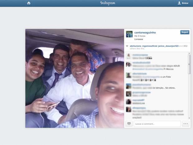 Cantor Waguinho comemora decisão da soltura do pastor Marcos Pereira em rede social (Foto: Instagram/Waguinho)