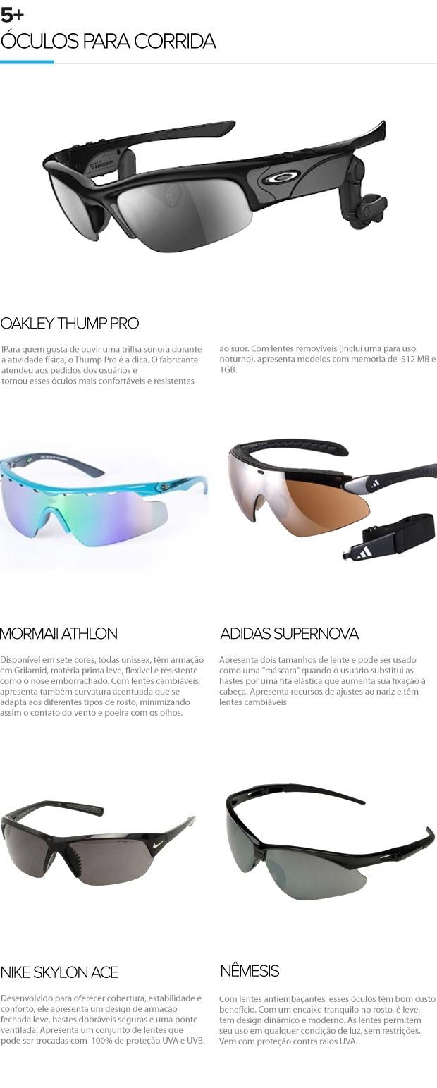 5+ óculos para corrida, Eu atleta (Foto: Editoria de Arte / Globoesporte.com)