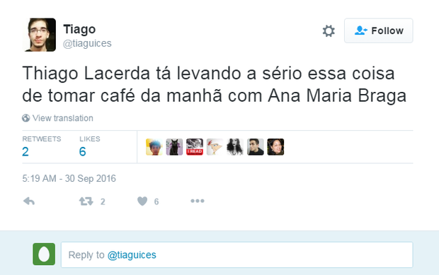 Thiago Lacerda 'se joga' em café do 'Mais Você' e internautas não perdoam  (Foto: Reprodução/Twitter)