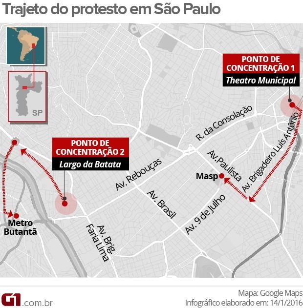 Mapa - protesto - percurso (Foto: Editoria Arte/G1)