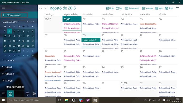 Usuário pode adicionar novo evento ao Google Agenda pelo Windows 10 (Foto: Reprodução/Elson de Souza)