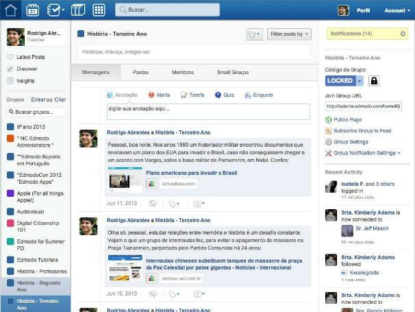 Rede globo globo educao rede social possibilita novas formas perfil do professor rodrigo abrantes no edmodo foto divulgao rodrigo abrantes stopboris Gallery