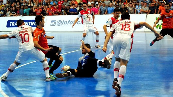 Carlos Barbosa x Sorocaba, semifinal da Liga Nacional de Futsal 2015 - Tiago, goleiro do Sorocaba (Foto: Ricardo Artifon )