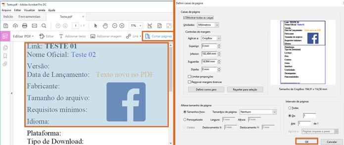 Corte trechos e separe as páginas do documento em PDF (Foto: Reprodução/Barbara Mannara)