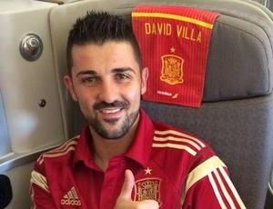 David Villa aparece no avião da Espanha após apresentação no New York City (Foto: Reprodução)