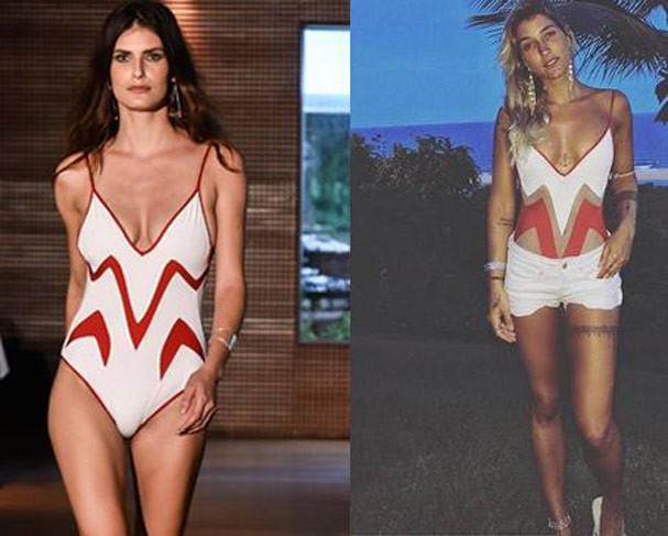 Maiô tricolor, que foi desfilado pela modelo Carol Francischini e usado pela musa fitness Gabriela Pugliesi, custa R$ 668 (Foto: Divulgação)