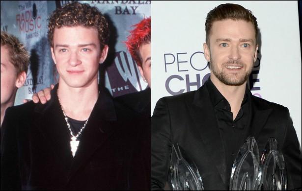 """Não daria para começar esta lista de outra maneira. Justin Timberlake foi do """"cabelo de Miojo"""" de 1999, quando tinha 18 aninhos, para o visual de um homem maduro e desejado, além de talentoso. O ex-'N Sync está com 33 anos. (Foto: Getty Images)"""