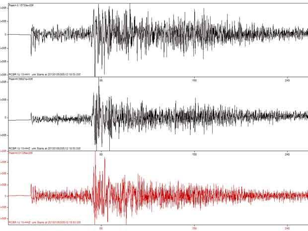 Registros de tremores do LabSis foram feitos neste sábado (5) (Foto: Reprodução/LabSis)