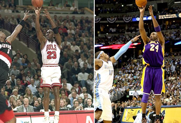 montagem Michael Jordan e Kobe Bryant NBA (Foto: Editoria de Arte)