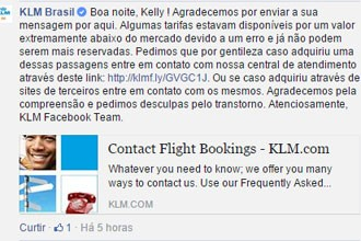KLM informou que erro causou ofertas com preço extremamente abaixo do mercado (Foto: Reprodução/Facebook)