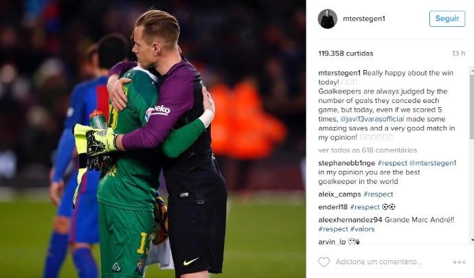 BLOG: Ter Stegen publica mensagem em rede social e emociona goleiro do Las Palmas