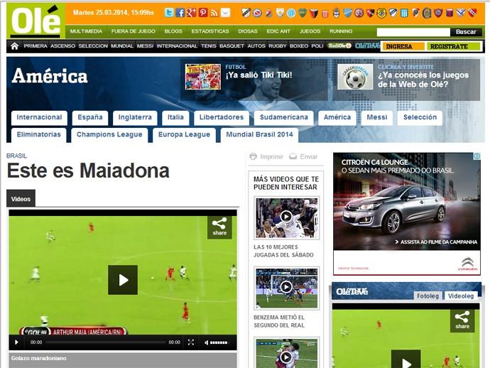 Site do jornal Olé, da Argentina, destaca golaço de Arthur Maia (Foto: Reprodução)