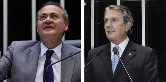 O senador Fernando Collor e o presidente do Senado, Renan Calheiros  (Foto: Waldemir Barreto/Agência Senado e Antonio Cruz / ABr)