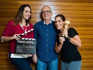Maria Beltrão, Artur Xexéo e Gloria Pires ancoraram a transmissão do Oscar 2016 na Globo (Foto: Globo/Renato Wrobel )