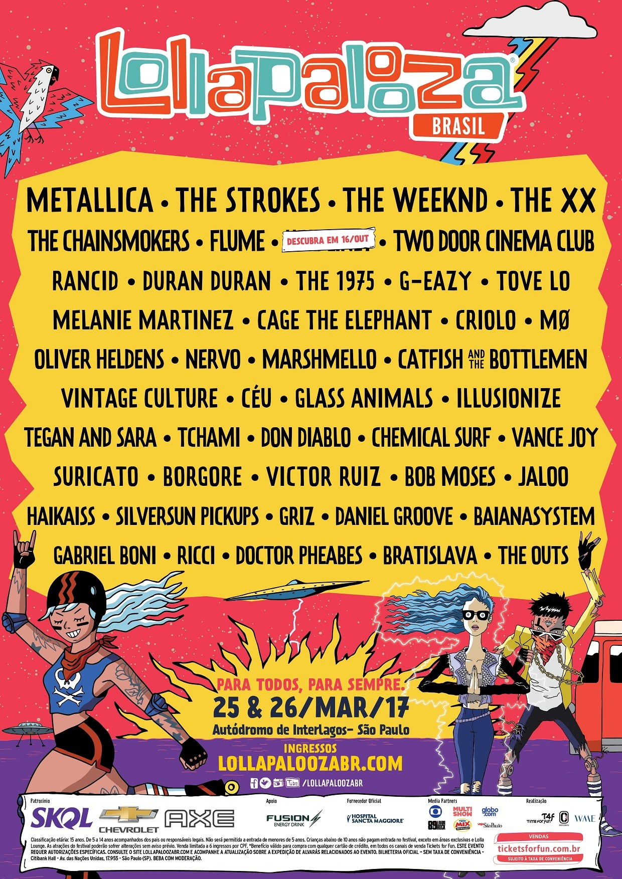 Line up do Lollapalooza Brasil 2017 foi anunciado nesta quarta-feira (28) (Foto: Divulgao)