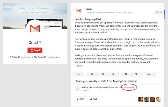 Gmail e seu recurso simplificado de cancelamento de assinatura de listas (Foto: Reprodução/Edivaldo Brito)