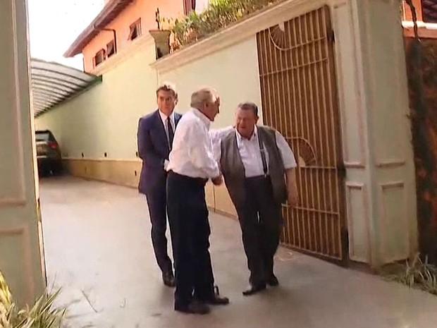 Michel Temer recebeu o economista Delfim Netto em sua casa (Foto: GloboNews/Reprodução)