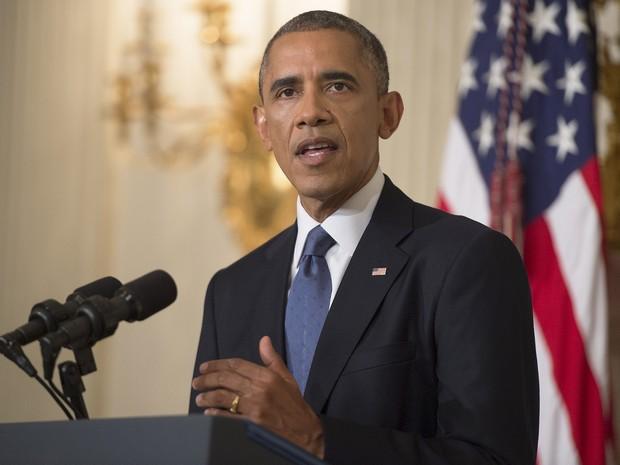 Barack Obama durante discurso sobre o Iraque nesta quinta-feira (7), nos Estados Unidos. (Foto: Saul Loeb/AFP)