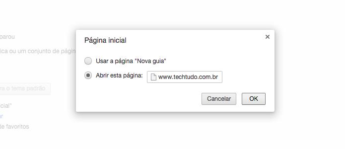 Alterando página aberta pelo botão de página inicial (Foto: Reprodução/Helito Bijora)