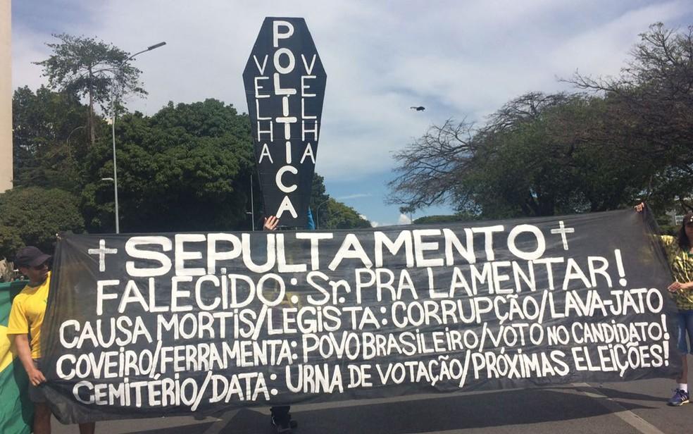 Manifestantes levaram faixas e até um caixão para a rua, em Brasília, neste domingo (Foto: Letícia Carvalho/G1)