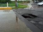 Ponte é interditada em Birigui após asfalto ceder por causa da chuva