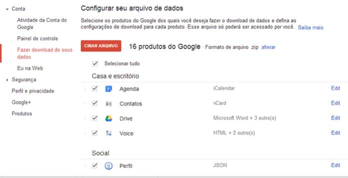Aqui você encontra a lista com todos os serviços disponíveis para download de dados. Gmail estará liberado em breve (Foto: Reprodução/Paulo Alves) (Foto: Aqui você encontra a lista com todos os serviços disponíveis para download de dados. Gmail estará liberado em breve (Foto: Reprodução/Paulo Alves))