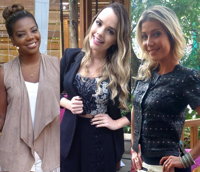 Ludmilla, Thaeme e Luiza Possi ensinaram truques de maquiagem no 'É de Casa' (Foto: Reprodução)