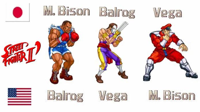 Balrog, Vega e M. Bison tiveram seus nomes trocados nas versões internacionais de Street Figher 2, o que causou muita confusão (Foto: Reprodução/Retro Vision)