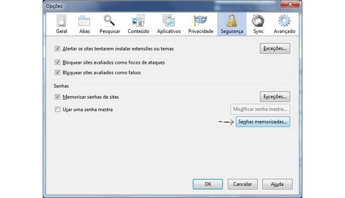 Janela de opções do Firefox (Foto: Reprodução/Raquel Freire)